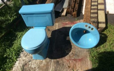 Matching Antique Toilet and Sink (Blue, early 1970's)