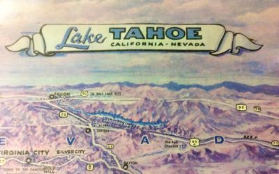 Antique Lake Tahoe California-Nevada Tourist Map (1965)