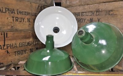 Antique industrial green enameled porcelain shade 16″