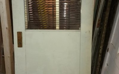 Steel Factory lab door, with rippled privacy glass.