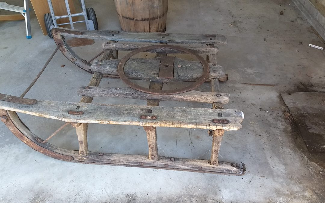 Antique Wooden Horse Drawn Wagon Sleigh Runners